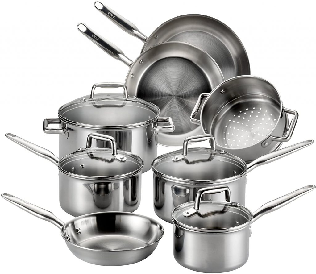 Tfal stainless steel cookware set on glass top stove