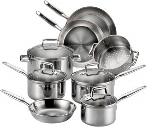 Tefal multi clad stainless steel cookware for gas, ceramic, electric, glass and induction cooktop