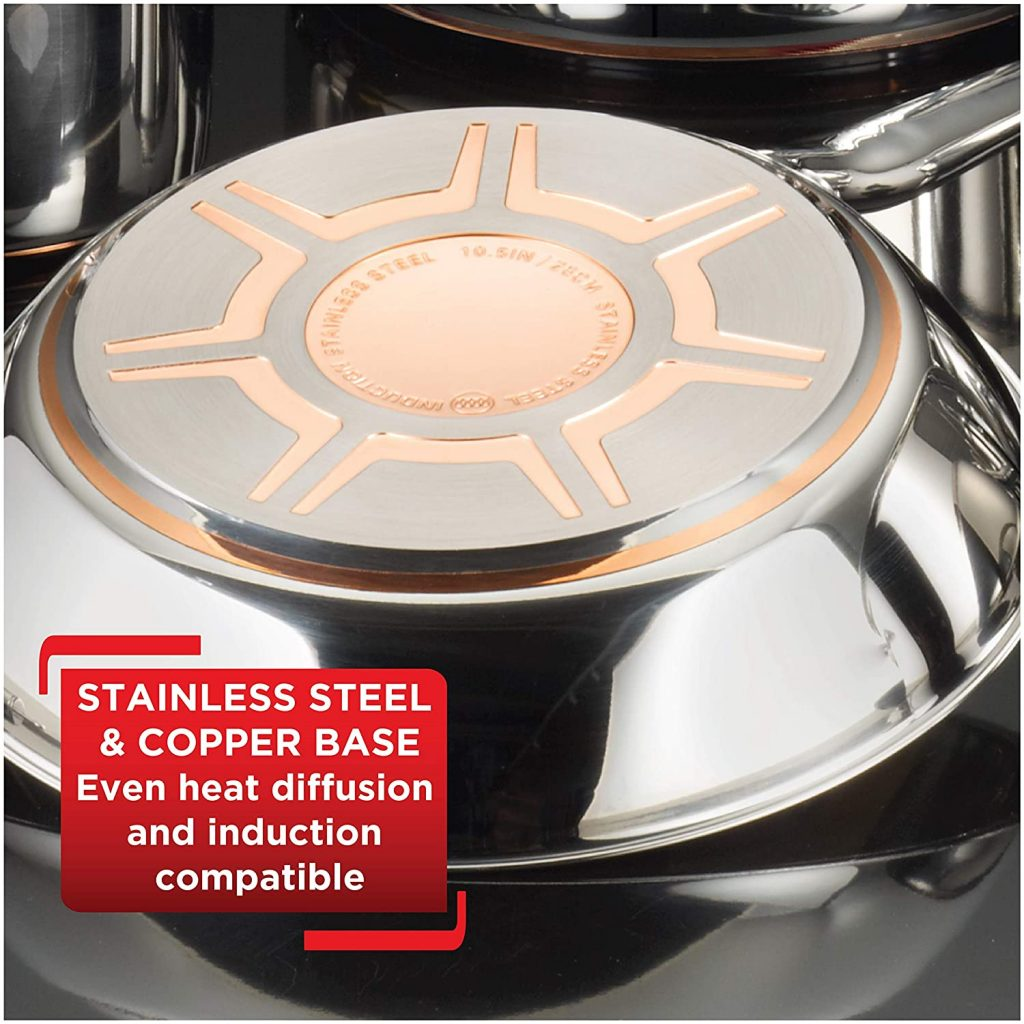 Induction copper base of the Tefal stainless steel cookware set can be used for gas and induction cooktops