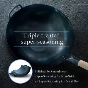 Pre seasoned flat bottom Blue carbon steel Wok for Electric, gas, ceramic and halogen stove top
