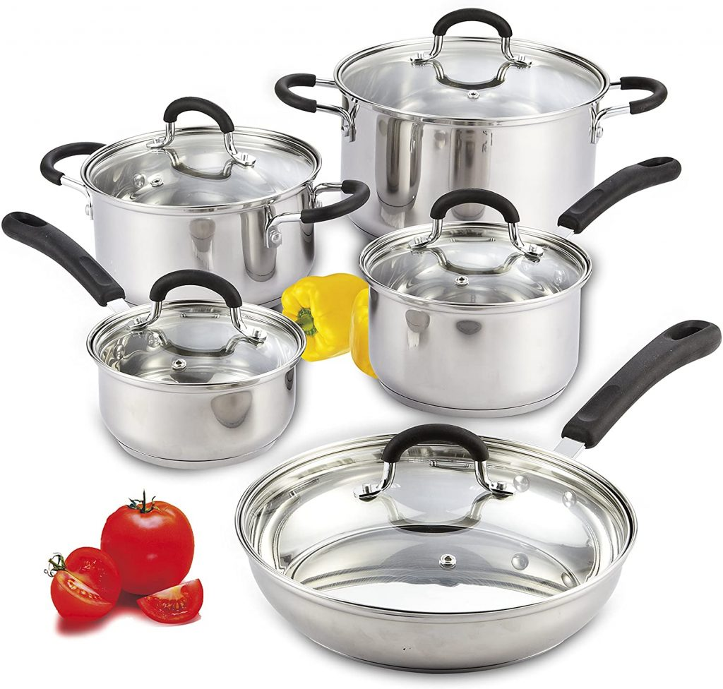 Stainless steel cookware for electric stove top