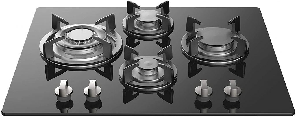 Gas tempered glass cooktop