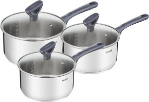 Set of 3 Stainless Steel Tefal Sauce Pan for all cooktops like gas stove, induction, electric and halogen.