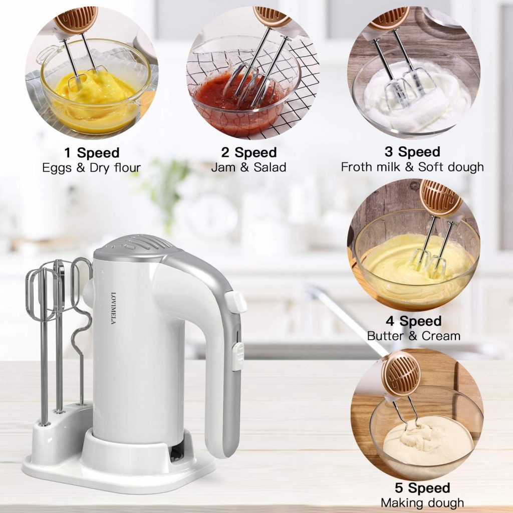 Lovimela lightweight affordable hand mixer for whipping, mixing cookies, cakes and dough