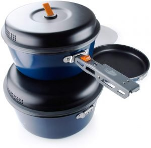 Outdoor nesting cook set for open fire cooking