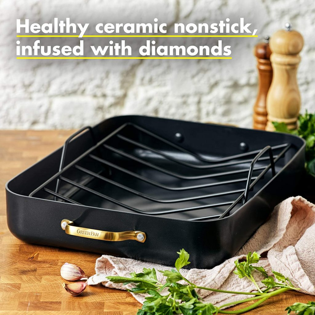 GreenPan Padova Ceramic non-stick roaster is our Top recommended roasting pans for prime rib
