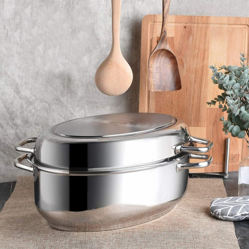 Rudolf stainless steel roasting pan with lid for all stovetops