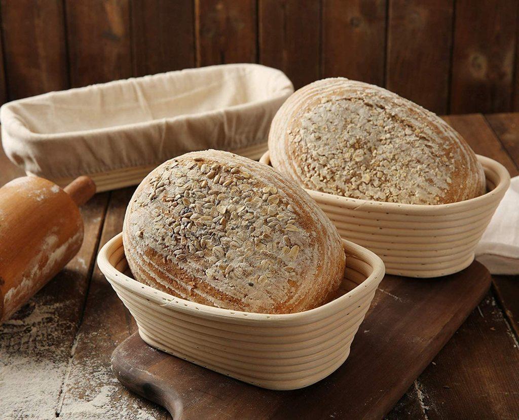 12 inch Oblong Oval Banneton Bread Proofing Basket, Brotform Bread Dough Proofing Rattan Basket +Liner Combo Set