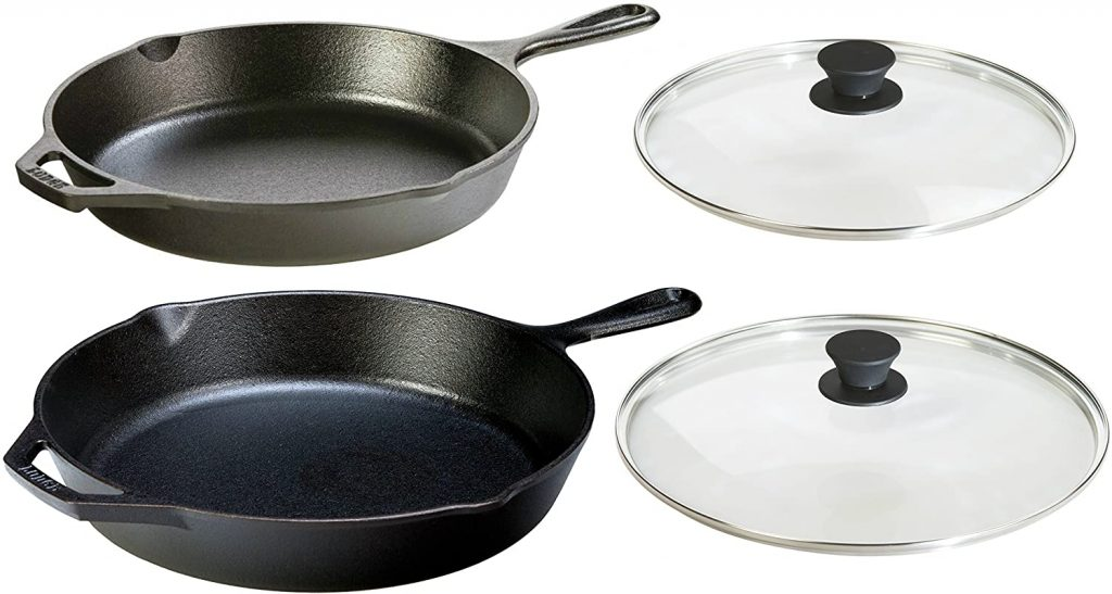 Lodge seasoned regular cast iron skillet with tempered glass