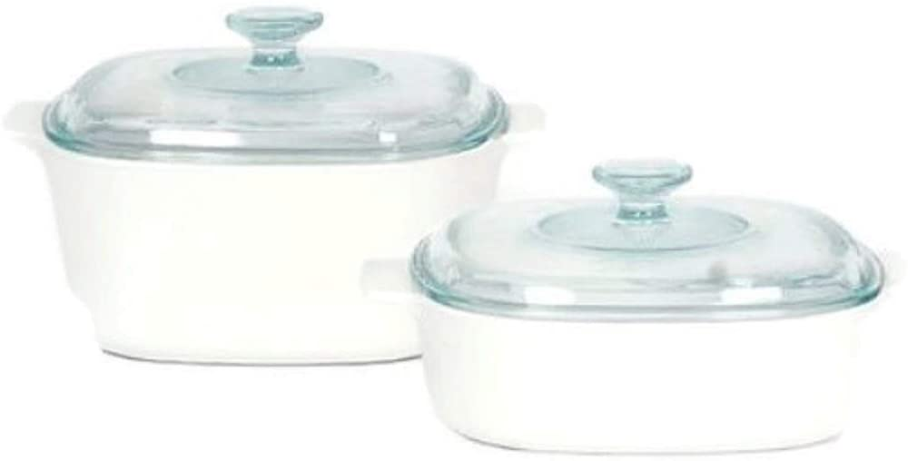 White corningware Pyroceram casserole dish for Electric and Stovetop